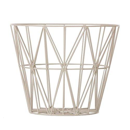 Ferm Living Aufbewahrungskorb Korb Drahtkorb Wire Basket - Grey - Large Grau Tischplatte wird ein Beistelltisch draus.