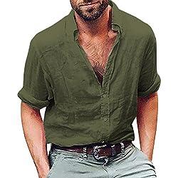 FAMILIZO Camisas Hombre Manga Larga Slim Fit Camisas Hombre Lino Camisas Hombre Originales Tops Blusa Hombre Blanca Otoño Casual Formal Slim Button-Down