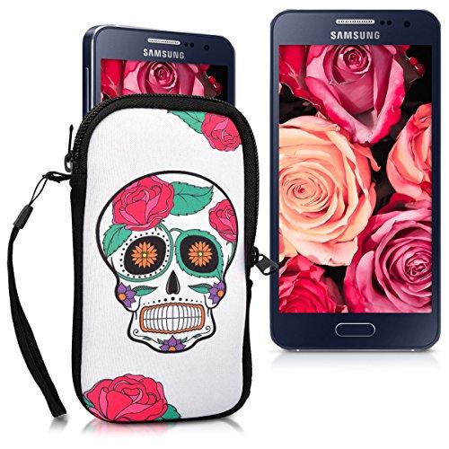 """Handytasche Neopren Sleeve für Smartphones M - 5,5"""" - kwmobile Handy Tasche Case Schutzhülle mit Vögel Ast Design Mehrfarbig Pink Schwarz - z.B. geeignet für Samsung, Apple, Wiko, Huawei Sugar Skull Totenkopf Weiß"""