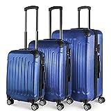 PRASACCO Hartschalenkoffer,Flug Handgepäck Kofferset Hartschalentrolley mit 4 Roll ✔Ultraleicht✔ABS Hartschale Anti-Kratzer✔Erweiterbar✔Höhenverstellbar Teleskopgriff (Blau, Koffer 3-teilig Set)