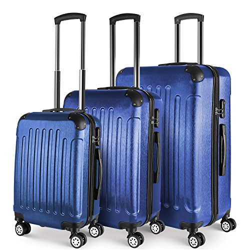 PRASACCO Kofferset Reisekoffer Set Hartschalenkoffer Set 3er Trolley-Set mit 4 Rollen+Teleskopgriff Erweiterbar 20''-24''-28''(S-M-L) Blau