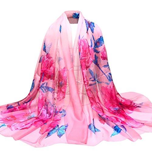 OverDose Damen Schal, Fashion Lady Schmetterlings Blumen Lange Wrap Frauen Schal Chiffon Schal Seide Schals Halstuch Tücher (Cashmere Und Cardigan Wrap Seide)