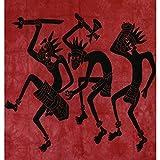 Tagesdecke Afrikanischer Stammestanz bordeaux Baumwolle Wandbehang Dekoration