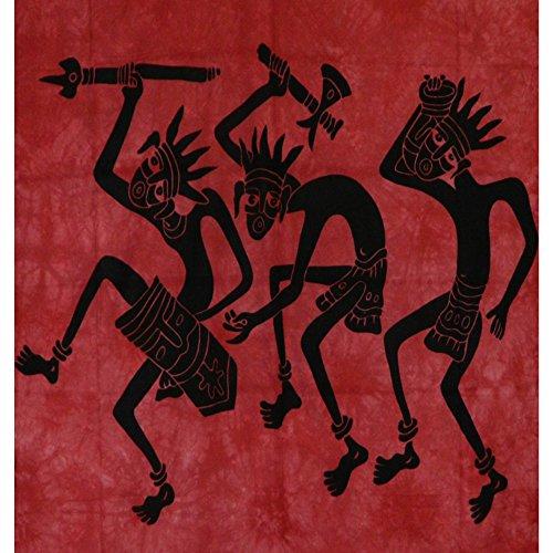 Couverture indienne Tenture Danse africaine coton 235x215cm Ameublement Décoration Textile Dessus-de-lit
