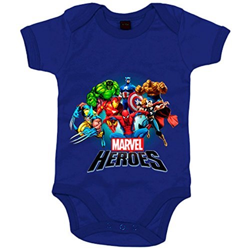 Body bebé Los Heroes de Marvel - Azul Royal, 6-12 meses