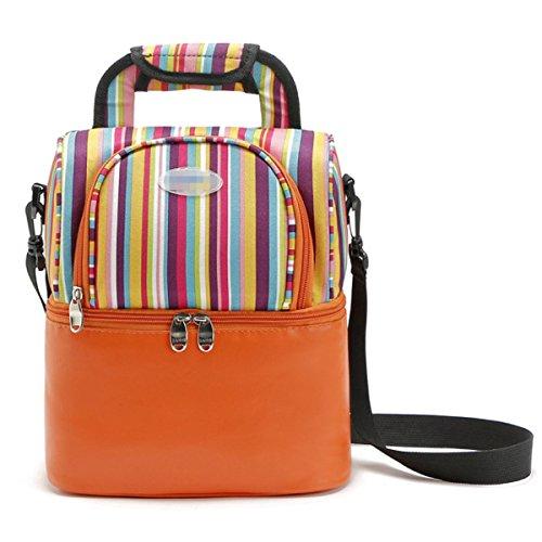 Striped Doppio Colore Multicolore Scialle Picnic Bag,Blue Orange
