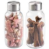 mDesign 2er-Set Futterbehälter für Hunde und Katzen – Futterspender aus BPA-freiem Kunststoff mit Schraubdeckel – geeignet für je 0,8 Liter Nass- oder Trockenfutter – durchsichtig