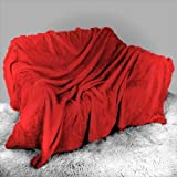 Mink Faux Fur Throw Red / Burgundy 150x200, Large 2 Seater Sofa / Bed Blanket