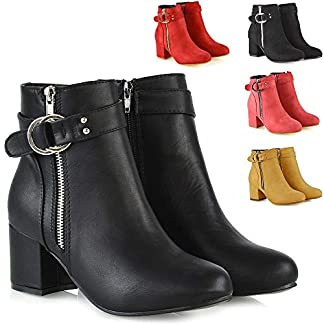 ESSEX GLAM Womens Ankle Boots Block Low Mid Heel Ladies Zip Buckle Strap Smart Booties Shoes 14