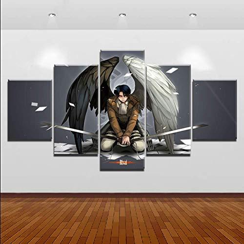 lquide Leinwanddruck Foto Moderne Kunst Wand Leinwanddruck Wandkunst Bild Gedruckt 5 Stücke Angriff Auf Titan Malerei für Wohnzimmer Anime Poster, A, 20x30x2 20x40x2 20x50x1