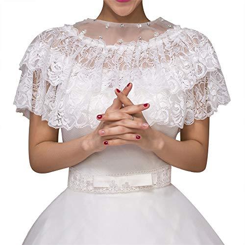 Bridal Lace Jacke (FESSLAND- Bolero Damen Bridal Lace Jacke Hochzeit Schal Bolero Half Sleeves Cape Wrap (Farbe : Weiß))