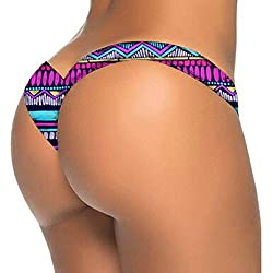 Femme Bikini Bas Lanière, LMMVP Femmes Maillot de Bain Bikini Brésilien Bottom Thong Baignade Plage Batik (M, Sexy rose vif)