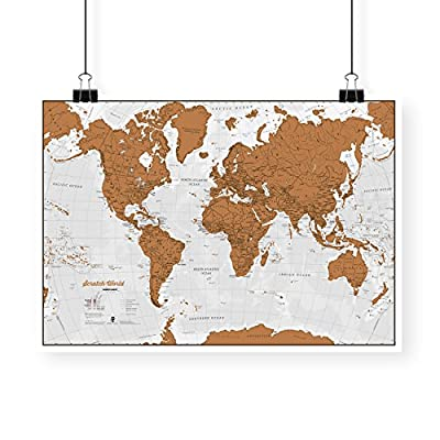 Scratch The World ® - Scratch off places you travel - Cartographic detail - 84.1 cm (w) x 59.4 (h) cm - With gift tube