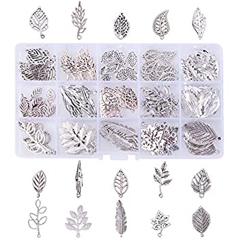 Forever Yung 20pcs Silver Feather Spacer Metal Beads DIY for Bracelets,Necklace by Vogholic