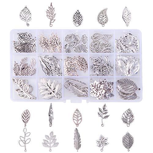 PandaHall Elite 150 Pcs Baum Blatt Thema Ton Legierung Charms Erkenntnisse tibetischen Stil Legierung Anhänger für Halskette, Antik Silber Farbe, 17.4x10x2.15cm