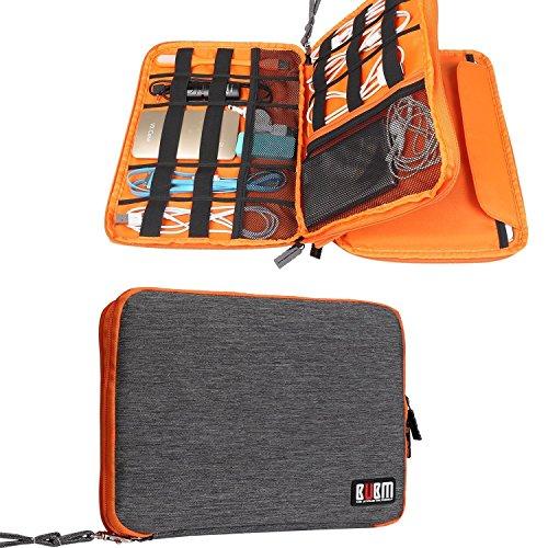 BUBM Universal Reisetasche mit Doppelschichte Organisator Tasche Tragetasche für Elektronisches Zubehör Batterie und Ladegrät - Groß, Grau und Orange (Heavy-duty-batterie-kabel)