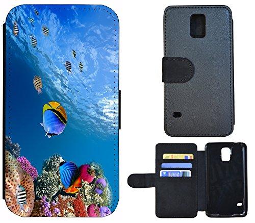 Schutz Hülle Flip Cover Handy Tasche Etui Case für (Apple iPhone 6 / 6s, 1144 Buddha Lotusblume Braun Pink) 1141 Fisch Fische Koralle Meer Blau Bunt