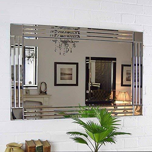 MirrorOutlet Espejo Pared Veneciano Plata Triple Biselado