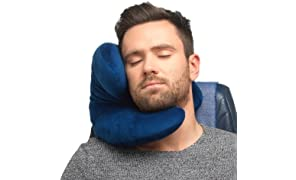 J-Pillow Travel Pillow - Head, Chin & Neck Support - British Invention of the Year 2013 - (Dark Blue)