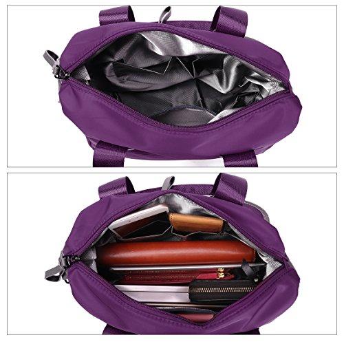 Damen Handtasche, Gracosy Wasserdichte Umhängetasche Nylon Schultertasche Mädchen Handtaschen Shopper Tasche Messenger Bag für Reisen Büro Arbeit Schwarz Lila