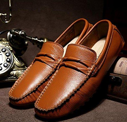 Mocassins Peep Toe Leather Slip-ons Basse Top Antidérapant Mode Confortable Soft Soles Leisure Casual Men's Shoes Taille de l'UE 39-44 Brown