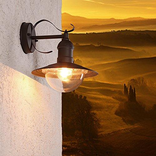 Außenwandleuchte Oslo aus Metall | Aussenwandlampe IP44 | Wandleuchte 1x E27 230V | Wandlampe...
