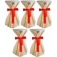 Sensalux, 5 Stehtischüberwürfe (nicht genäht) abwischbar - (Farbe nach Wahl), Überwurf creme Schleifenband rot, Tischdurchmesser 60-70 cm, die preisgünstige Alternative zur Husse
