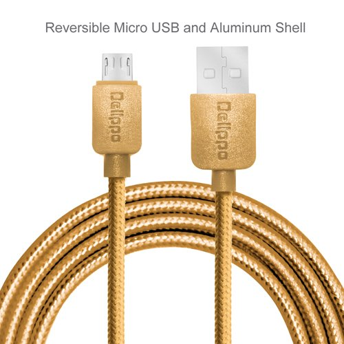 Premium Delippo? Blitzschnell Nylon Ummantelte USB 2.0 Male zu Micro USB Data Sync Ladekable Universaler Adapter Ideal f¨¹r Android Samung Galaxy Note S5 S4 S3 S2 2 3 4 Tab Note 10.1 2014 Edition  Google Nexus 5 4 7 9 10 2013  HTC One X M8   Moto G X  HTC One X M8  LG G3 G4  Nokia Lumia  Sony Xperia Handy Tablet HP  BlackBerry u.a. Tablet Smartphone (3.9ft/1.2m, Golden)
