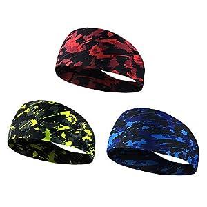 Eizur Sport Stirnband, Kopf Schweißband Feuchtigkeit Wicking Haarband für Damen und Herren Laufen Radfahren Yoga, 3 Stück