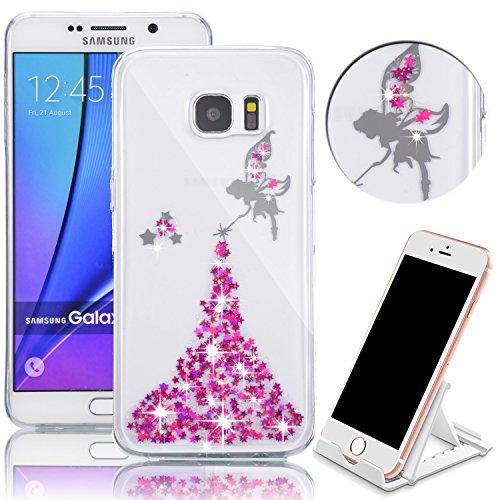Cover Samsung Galaxy Note 5 N9200 360 Gradi,Custodia Full Body Samsung Galaxy Note 5 N9200,Fronte Retro trasparente Ultra Sottile Silicone Case Molle di TPU Sottile 3 in 1 Protezione Completa Glitter Angelo 02