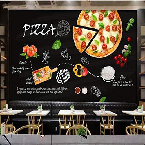 YTTBH Selbstklebendes Wandbild (B) 300X (H) 210Cm Wandbild Schwarz Handbemalt Italienische Pizzeria Westliches Restaurant Milchtee Burger Restaurant Laden Tapete Hintergrund Kinderzimmer Restaura