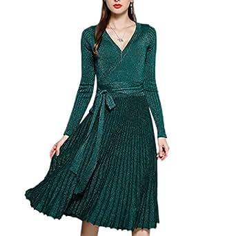 Ai.Moichien Abito a Pieghe Donna Vintage Vestito Scollo a V Slim Partito Vestiti (free size, verde)