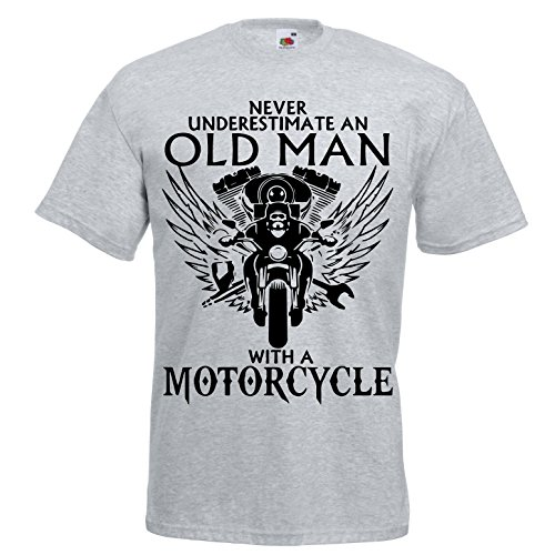Never Underestimate an Old Man with a Motorcycle T-shirt Biker on the Road Motorbike Addicted Vintage Dude