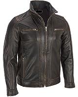 Superior Leather Garments - Men's Black Rivet Faded Seam Leather Jacket Genuine Cow hide