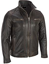 Superior Leather Garments - Men's Black Rivet Faded Seam Leather Jacket Genuine Cow hide
