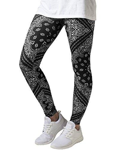 Urban Classics Damen Ladies Bandana Leggings, Mehrfarbig (Blk/Wht 50), W27/L31 (Herstellergröße: S)