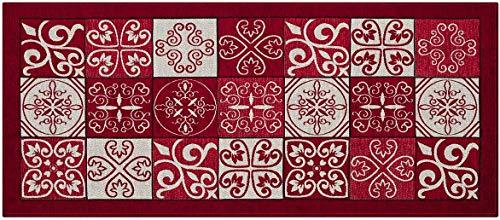 Homelife tappeto cucina antimacchia e antiscivolo 55x110 made in italy | passatoia moderna con disegno maiolica lavabile | tappeto runner lungo colorato [55x110, rosso]