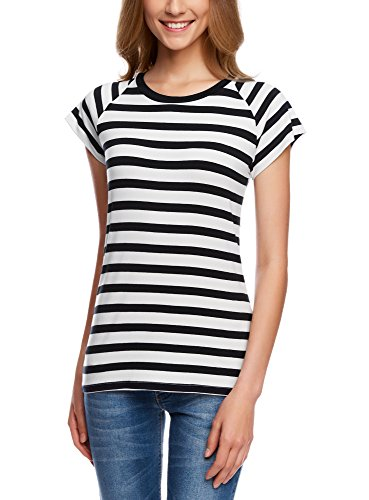 oodji Collection Damen Lässiges Viskose-T-Shirt, Weiß, DE 42/EU 44/XL (Gestreiftes T-shirt)
