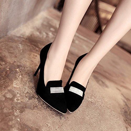 Mee Shoes Damen Stiletto mit Strass Nubuck Pumps Schwarz