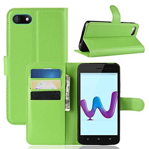 LAGUI Hülle Geeignet für Wiko Sunny 3, Schlichtes Aber Edles Brieftasche Lederhülle Mit Kartenfächern Fach und Magnetische Verschluss, Anti-Scratch, stoßfeste Handyhülle. Grün