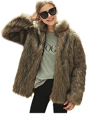 LLQ Abrigo para Mujer Invierno Piel Abrigo Collar del Soporte Chaqueta Piel Long Section Ropa Caliente Abrigo...