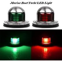 TiooDre Luces de navegaci¨n 2pcs Verde y Rojo Marina Barco yate de luz LED de 12V Arco del Acero Inoxidable