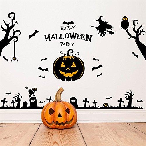 iTemer Halloween Wandaufkleber Glasaufkleber abnehmbar Fenster Aufkleber Umweltschutz Etikett Geisterhaus Zauberer Kürbis leuchtet