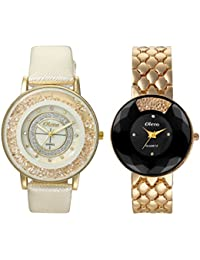 Oleva Premium Women's Metal & Leather Watch Pack Of 2 OPC-2-13-M