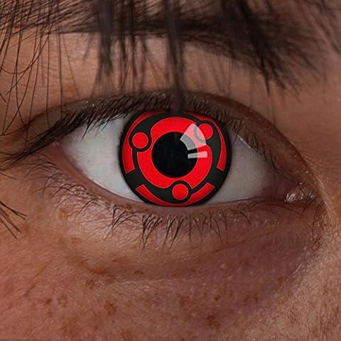 aricona Farblinsen rote Naruto Kontaktlinsen Madara Ewiges Mangekyou Sharingan (Madara Uchiha Kostüm)