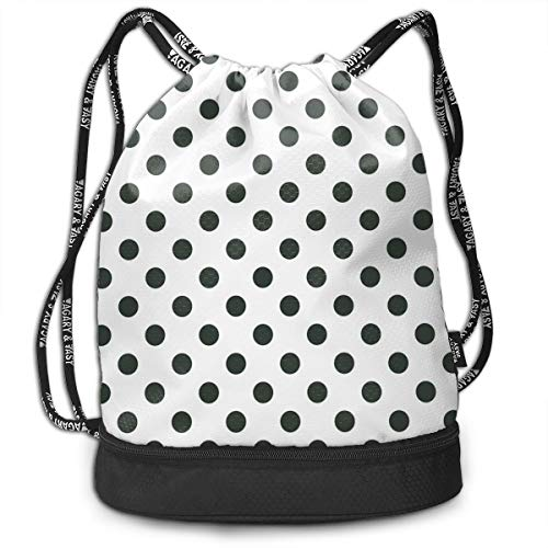 Multipurpose Drawstring Bag for Men & Women, Nostalgic Polka Dots Pattern with Large Round Circles Minimalist Modern Art Print,Tote Sack Large Storage Sackpack for Gym Travel Hiking -