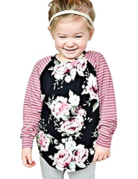 Amlaiworld Mädchen tops blumen drucken langarmshirt Niedlich Kleinkind gestreift bunt winter pullis,0-4 Jahren