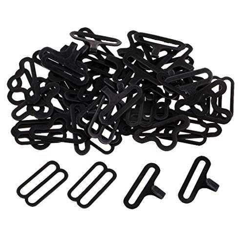 Hellery 20 Sätze DIY Bow Tie Clip Hardware Für Krawattengurt Haken Verschluss - Silber - Schwarz (Schwarz Silber Tie Und Bow)