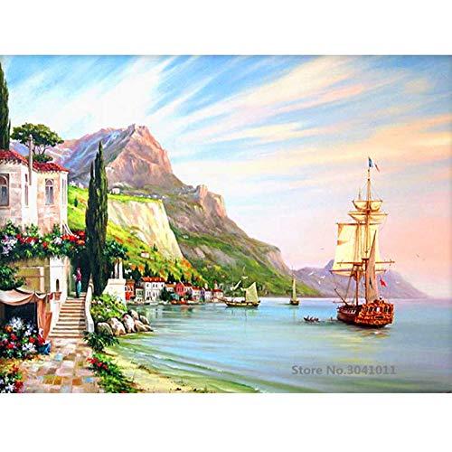 baodanla No Frame Seascape Oil di Tela Digitale per la Decorazione di Nozze Decorazioni per la casa50x70cm