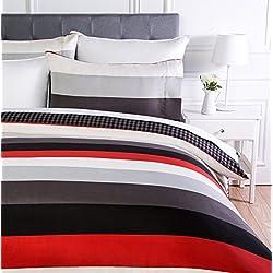 AmazonBasics - Juego de ropa de cama con funda de edredón, de microfibra, 135 x 200 cm, Rojo raya (Red Simple Stripe)